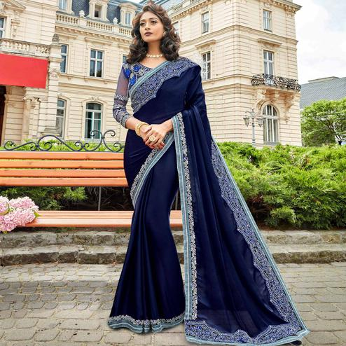 Adorning Navy Blue Colored Partywear Embroidered Sana Silk Saree