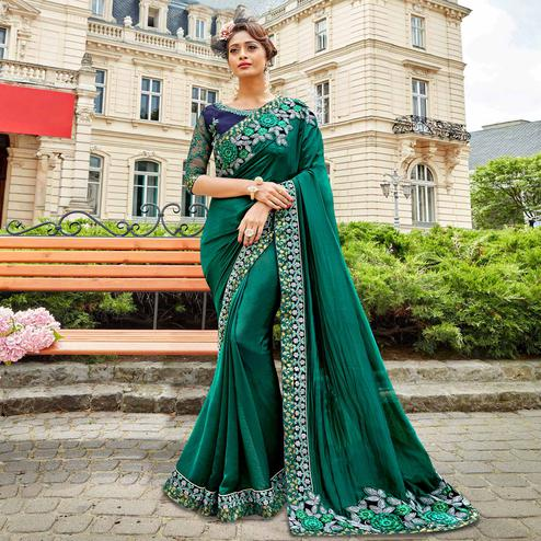 Radiant Turquoise Green Colored Partywear Embroidered Sana Silk Saree