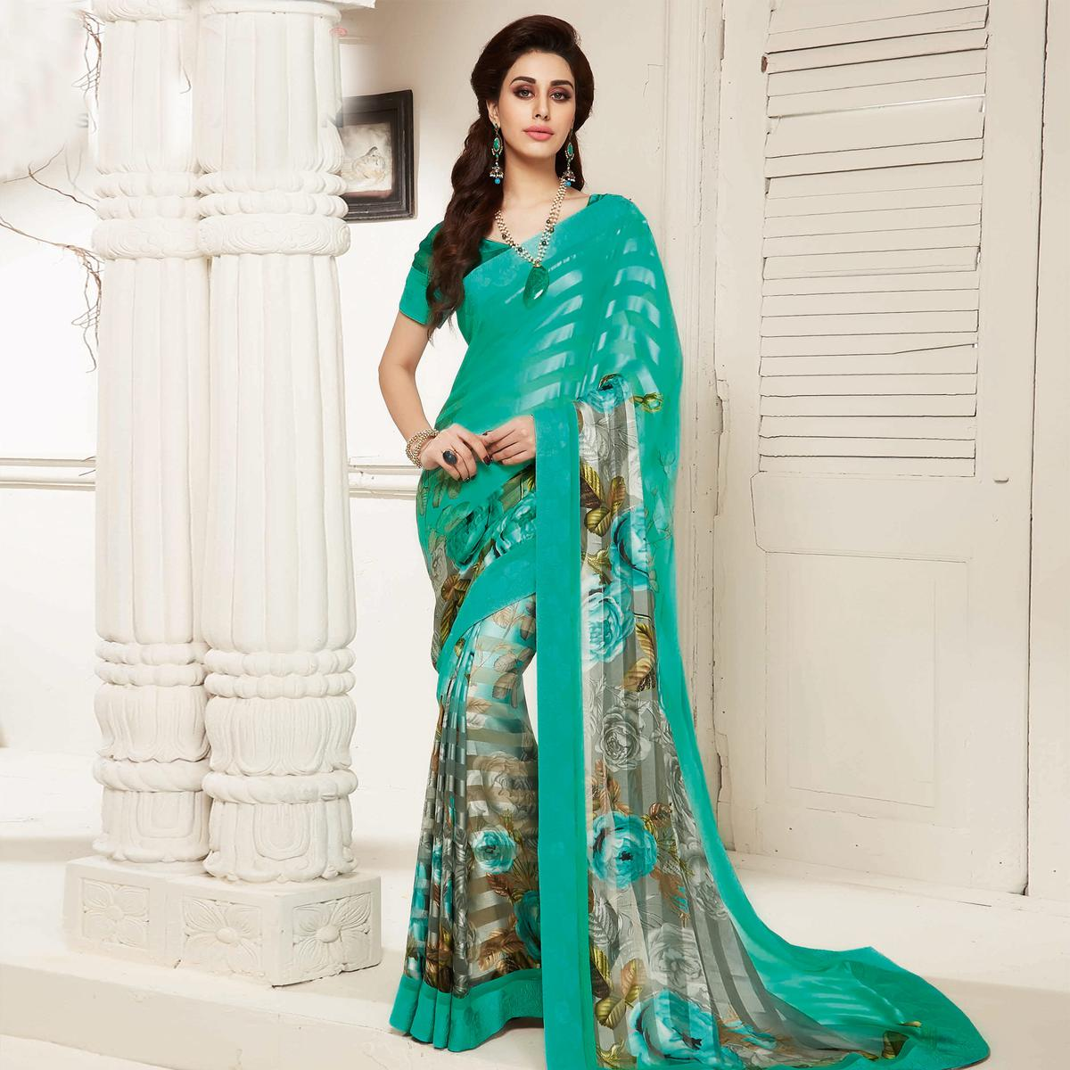 Aqua Green - Grey Printed Saree