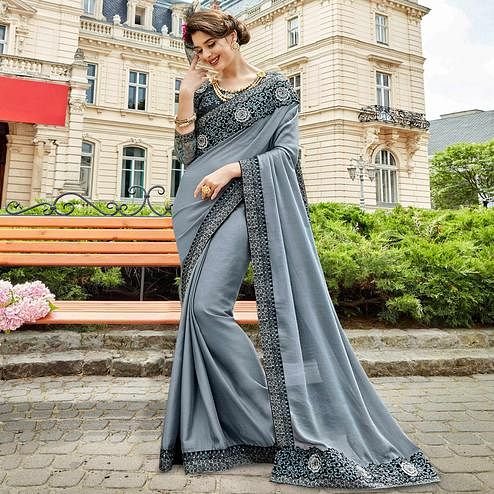 Energetic Grey Colored Partywear Embroidered Sana Silk Saree