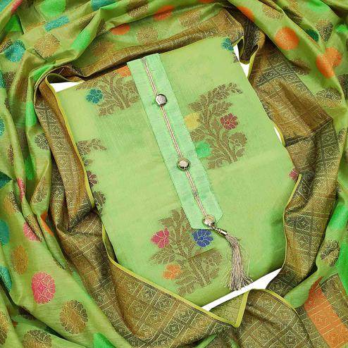 Elegant Green Colored Festive Wear Woven Heavy Banarasi Silk Dress Material