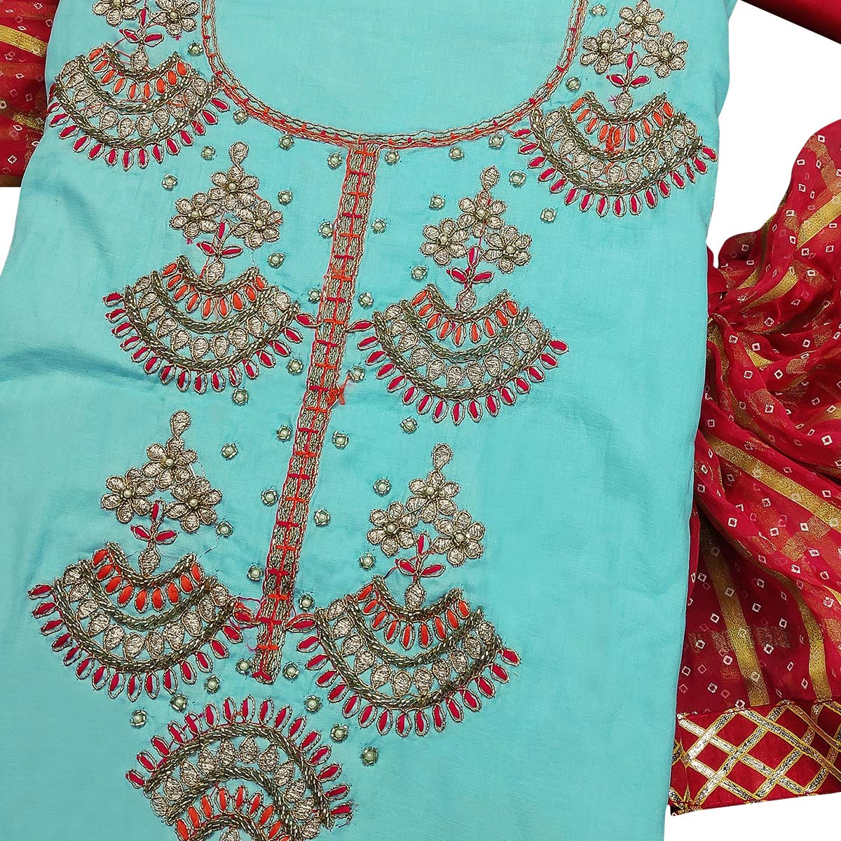 Graceful Sky Blue Colored Partywear Embroidered Cotton Dress Material