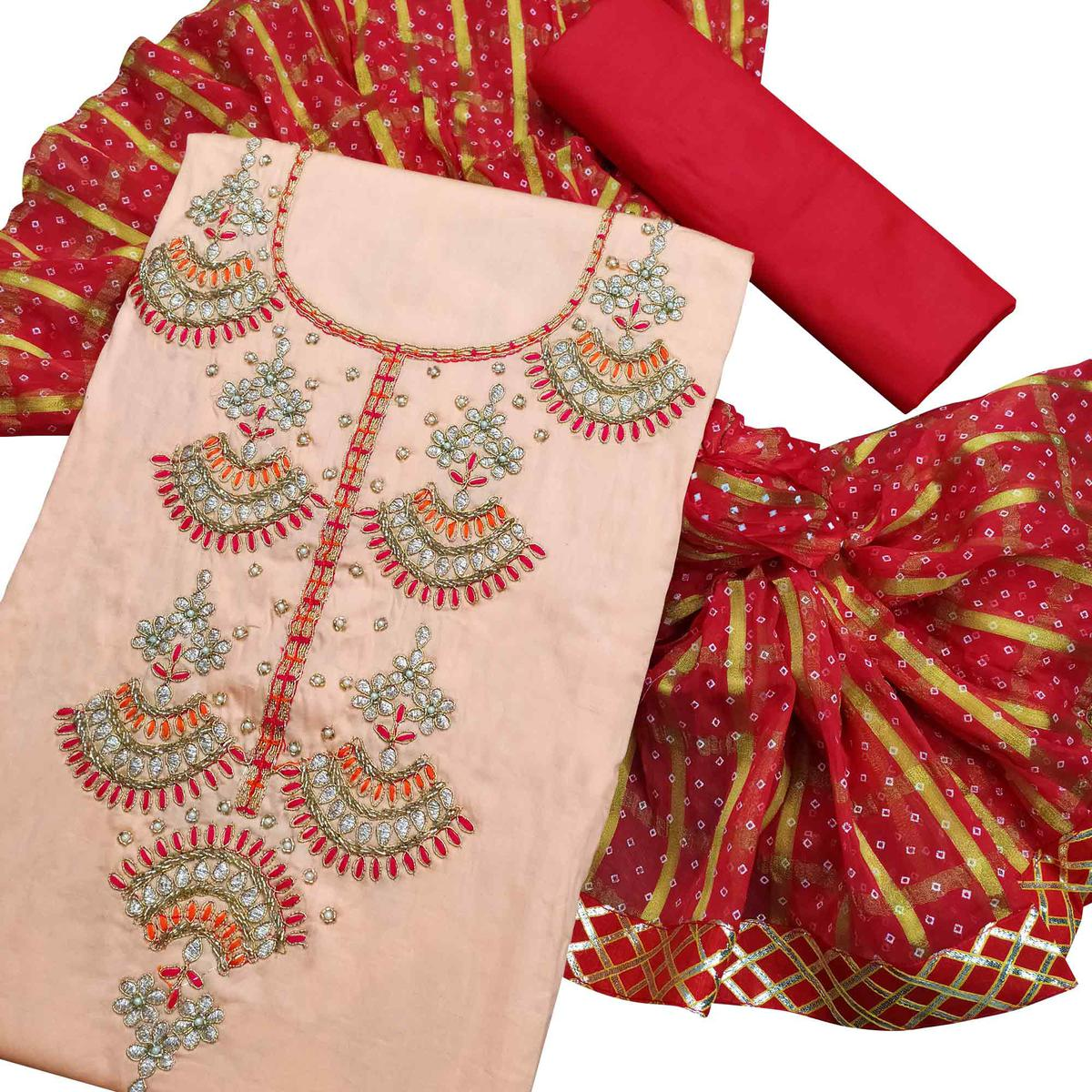 Attractive Peach Colored Partywear Embroidered Cotton Dress Material