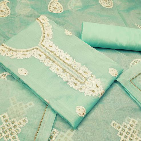Lovely Aqua Green Colored Partywear Embroidered Modal Silk Dress Material