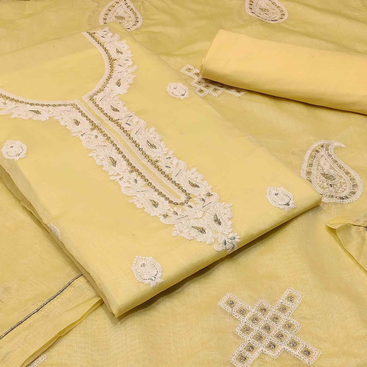 Majesty Yellow Colored Partywear Embroidered Modal Silk Dress Material