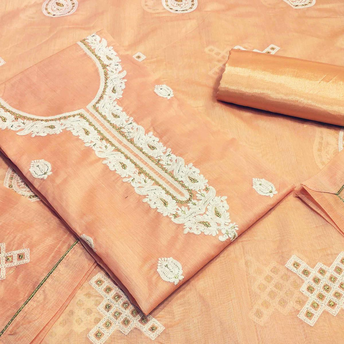 Impressive Peach Colored Partywear Embroidered Modal Silk Dress Material