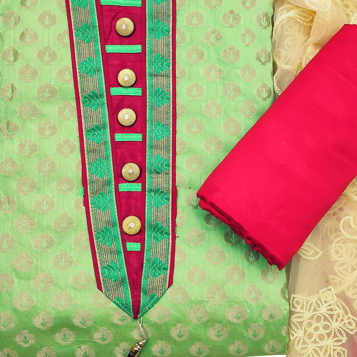 Exclusive Green Colored Festive Wear Woven Heavy Banarasi Silk Dress Material