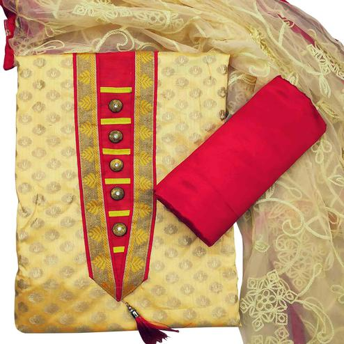 Adorning Yellow Colored Festive Wear Woven Heavy Banarasi Silk Dress Material