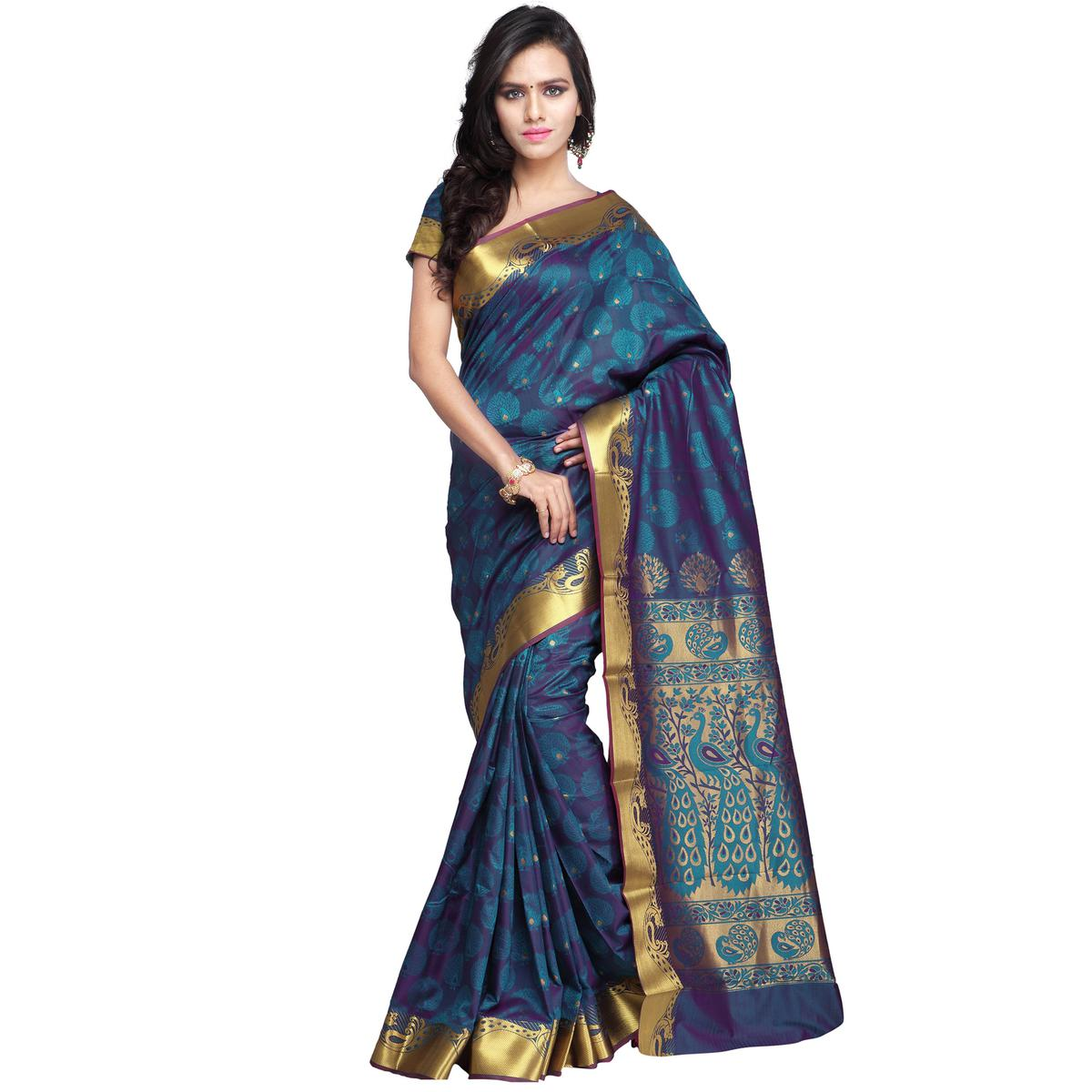 Rama Green - Violet Art Silk Saree