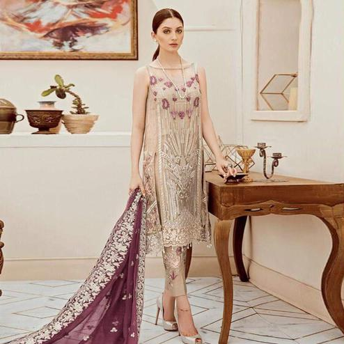 Amazing Beige Colored Partywear Embroidered Faux Georgette Pant Style Suit