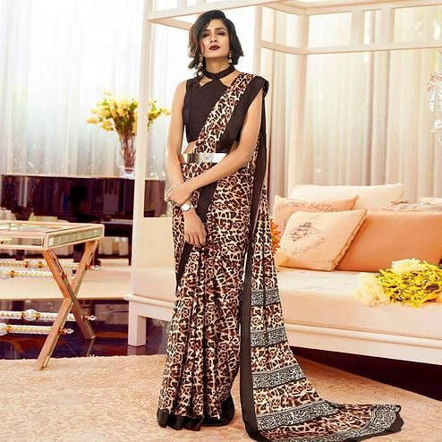 Appealing Brown Colored Partywear Animal Printed Japan Satin-Crepe Saree