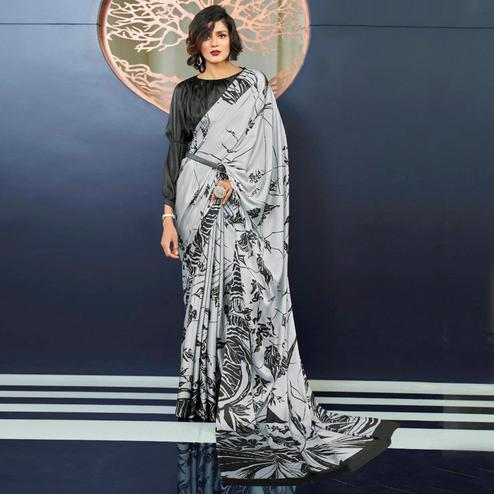 Capricious Grey Colored Partywear Fancy Printed Japan Satin-Crepe Saree
