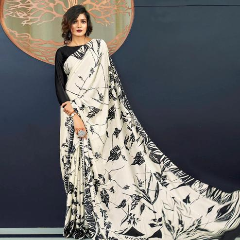 Entrancing Off White Colored Partywear Fancy Printed Japan Satin-Crepe Saree