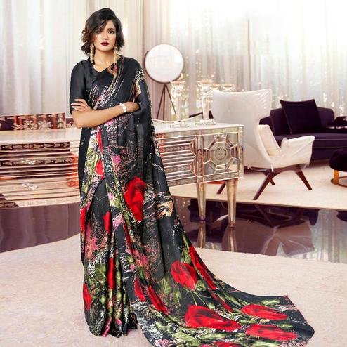 Groovy Black Colored Partywear Rose Printed Japan Satin-Crepe Saree