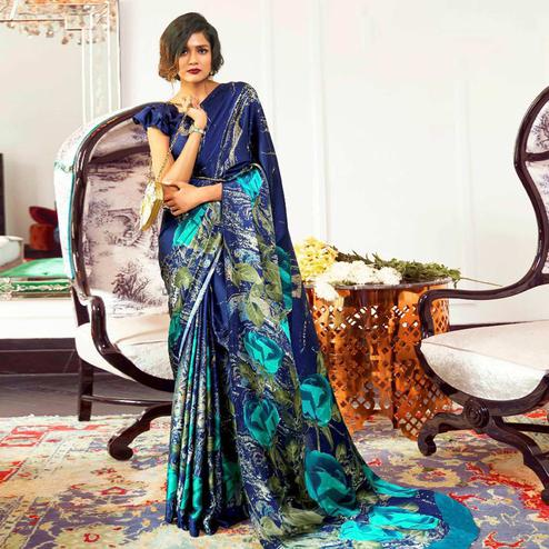 Adorning Blue Colored Partywear Rose Printed Japan Satin-Crepe Saree