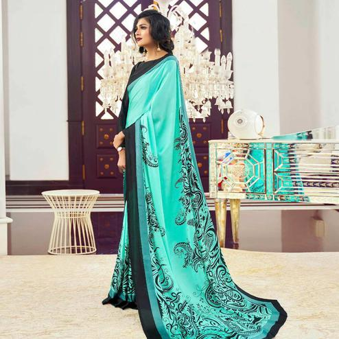 Exclusive Aqua Green Colored Partywear Fancy Printed Japan Satin-Crepe Saree