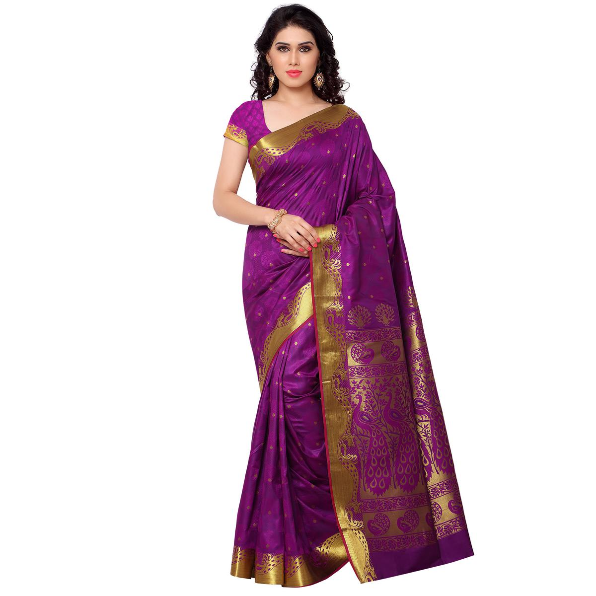 Purple - Violet Festive Wear Silk Saree