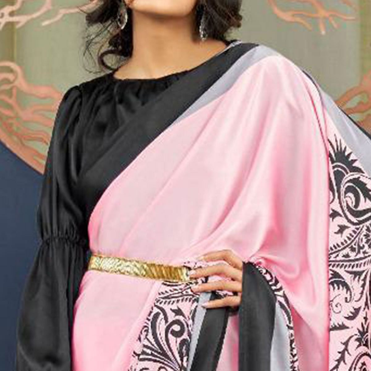 Radiant Pink Colored Partywear Fancy Printed Japan Satin-Crepe Saree