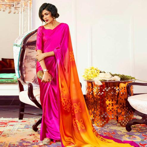 Trendy Pink Colored Partywear Fancy Printed Japan Satin-Crepe Saree