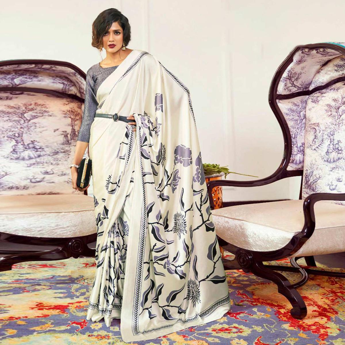 Sophisticated Cream-Purple Colored Partywear Fancy Printed Japan Satin-Crepe Saree