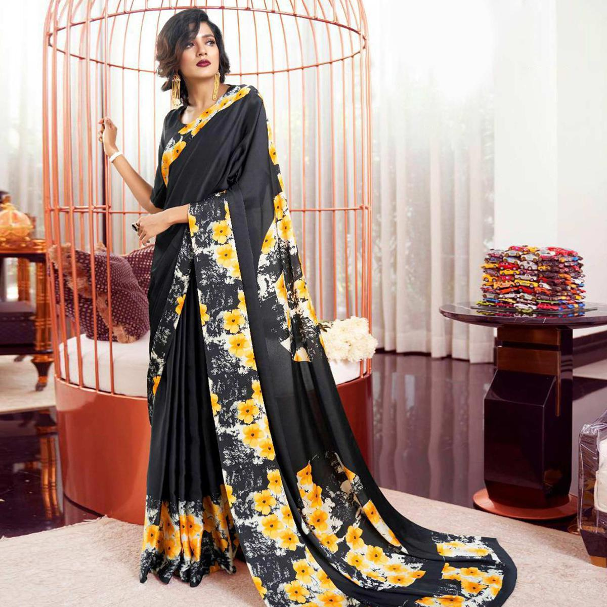 Desirable Black-Yellow Colored Partywear Fancy Printed Japan Satin-Crepe Saree
