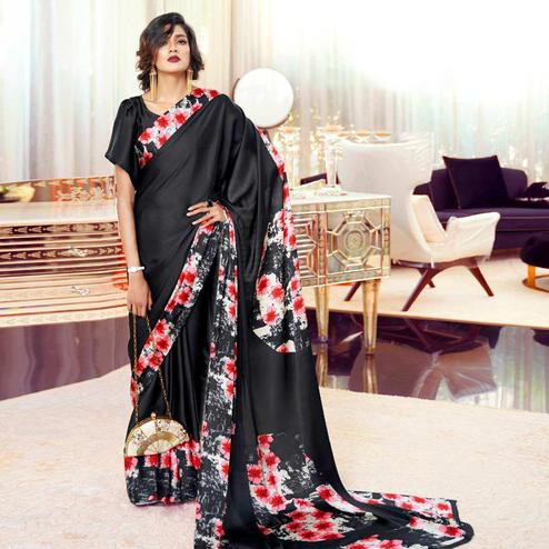 Arresting Black-Red Colored Partywear Fancy Printed Japan Satin-Crepe Saree