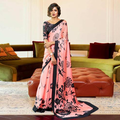 Intricate Pink Colored Partywear Fancy Printed Japan Satin-Crepe Saree