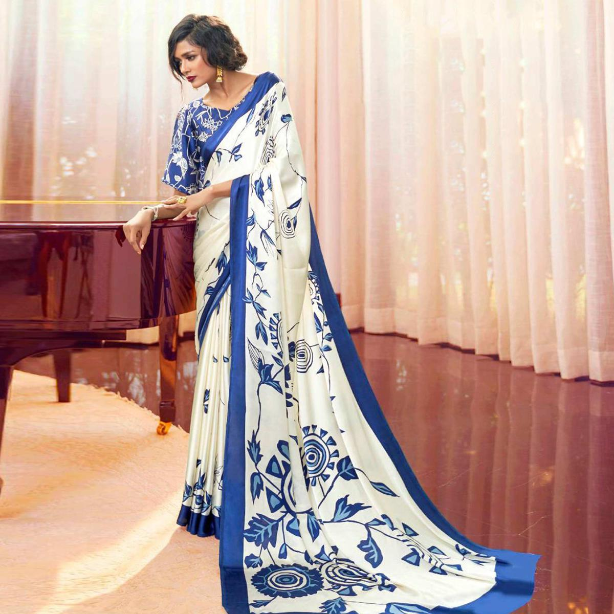 Adorable White Colored Partywear Fancy Printed Japan Satin-Crepe Saree