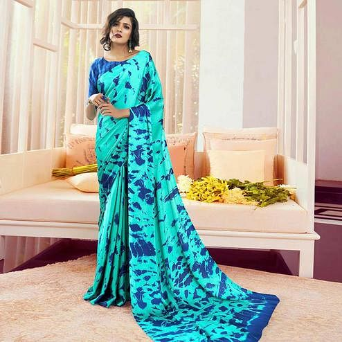 Glorious Aqua Blue Colored Partywear Fancy Printed Japan Satin-Crepe Saree