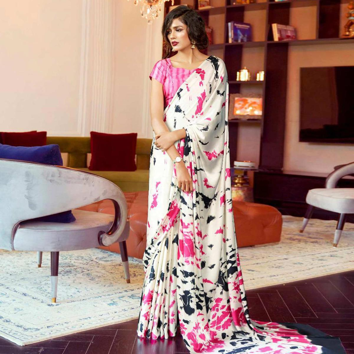 Attractive White Colored Partywear Fancy Printed Japan Satin-Crepe Saree