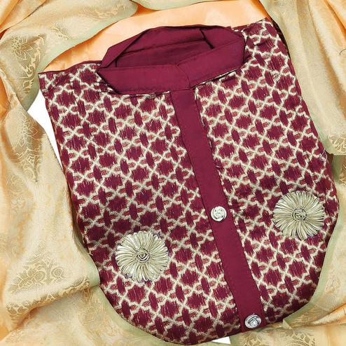 Prominent Maroon Colored Festive Wear Woven Heavy Banarasi Silk Dress Material