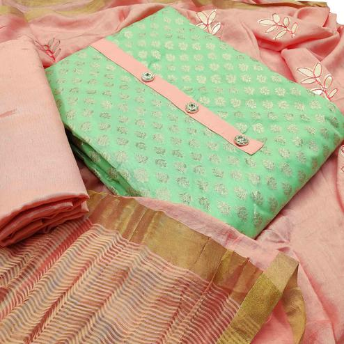 Demanding Green Colored Festive Wear Woven Heavy Banarasi Silk Dress Material