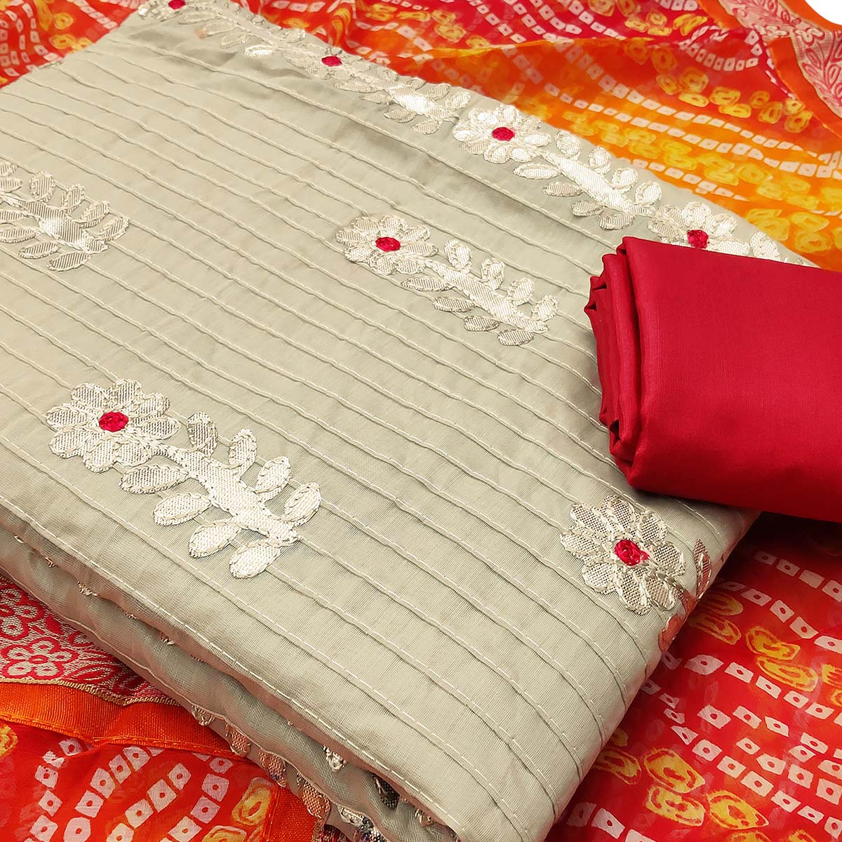 Impressive Beige Colored Partywear Embroidered Cotton Dress Material With Bandhani Dupatta