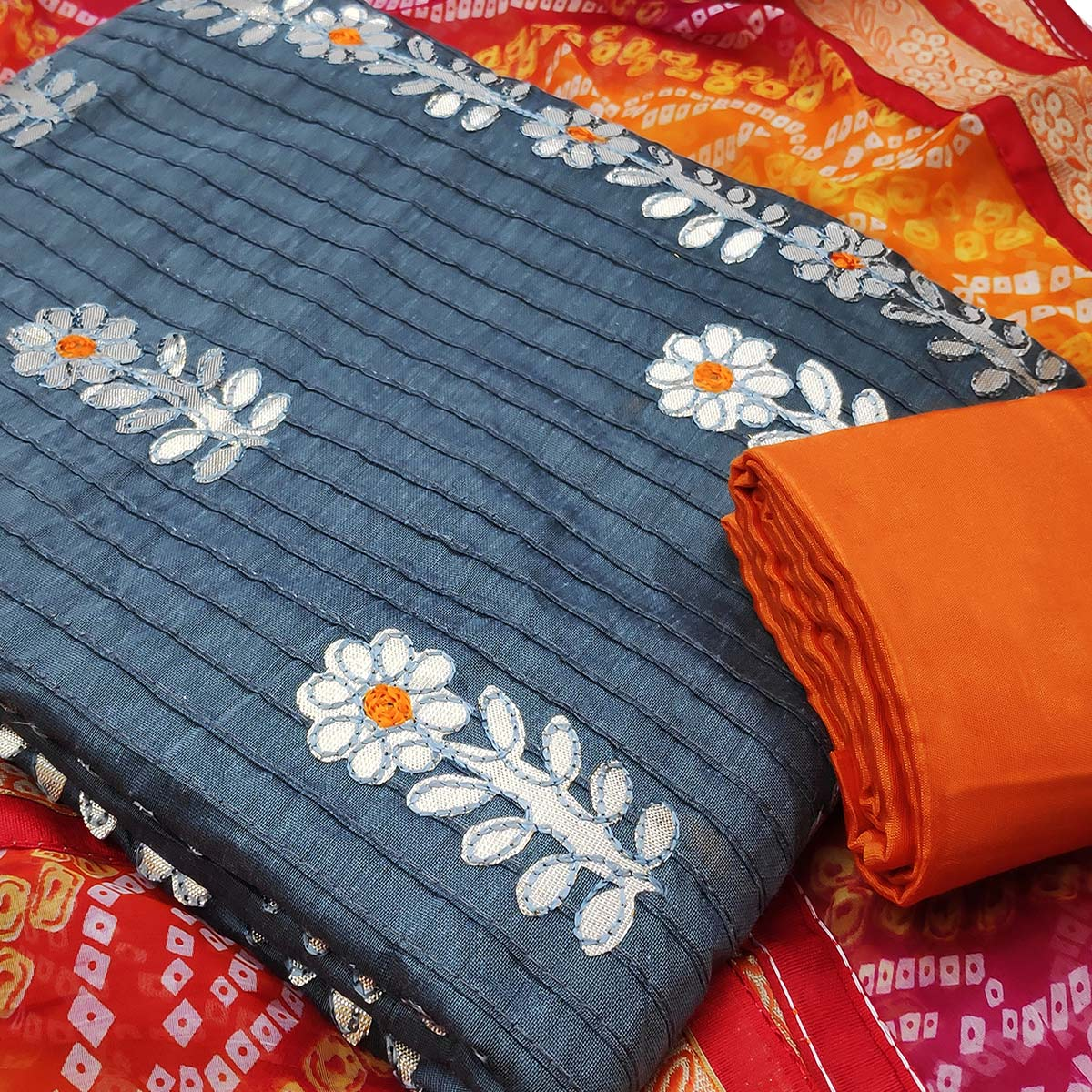 Lovely Grey Colored Partywear Embroidered Cotton Dress Material With Bandhani Dupatta