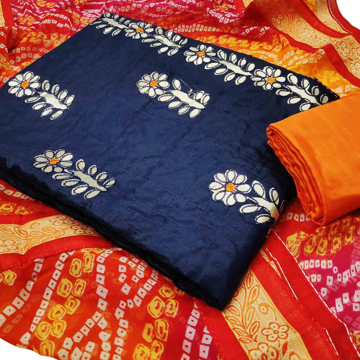 Imposing Navy Blue Colored Partywear Embroidered Cotton Dress Material With Bandhani Dupatta