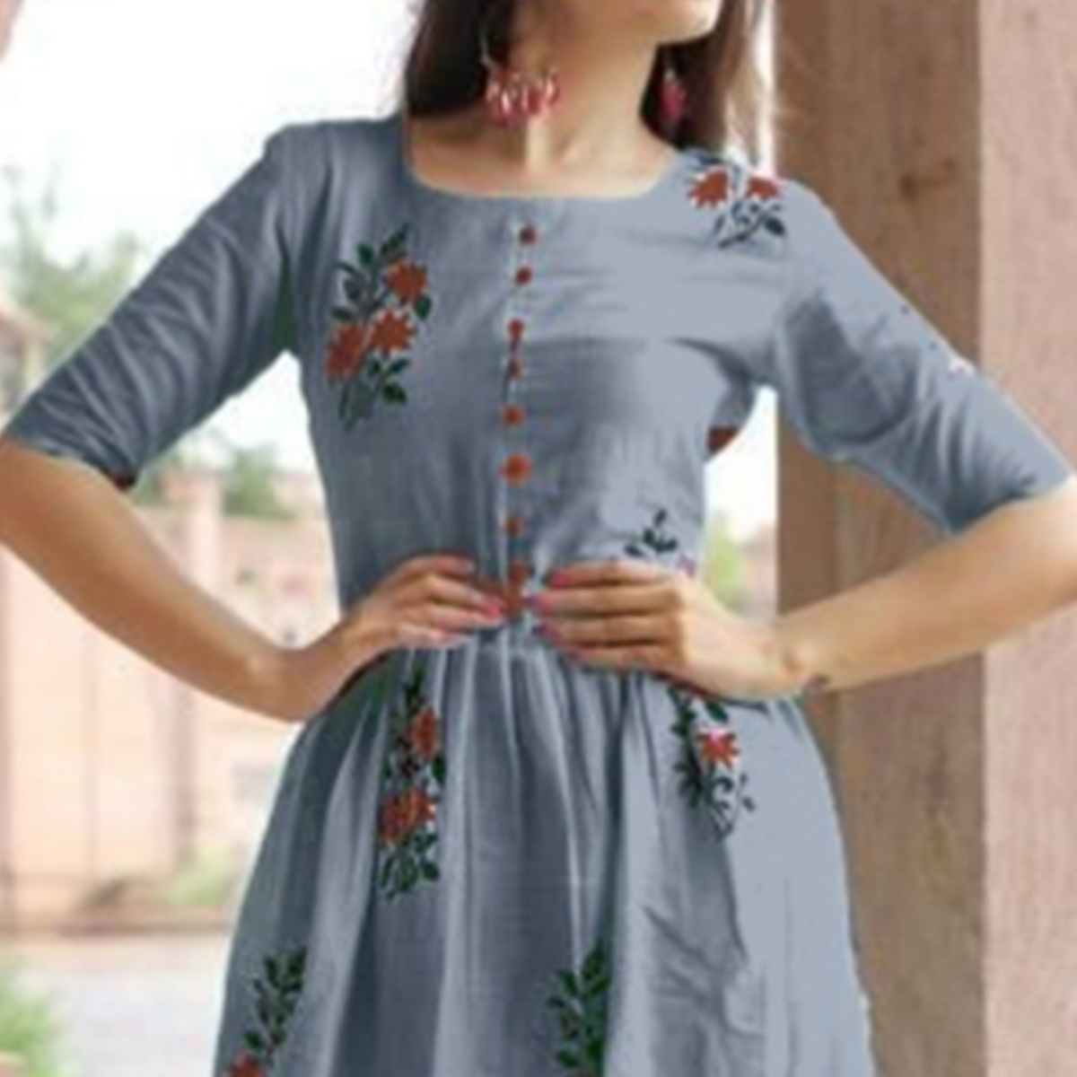 Surpassing Grey Colored Casual Printed Cotton Kurti-Palazzo Set