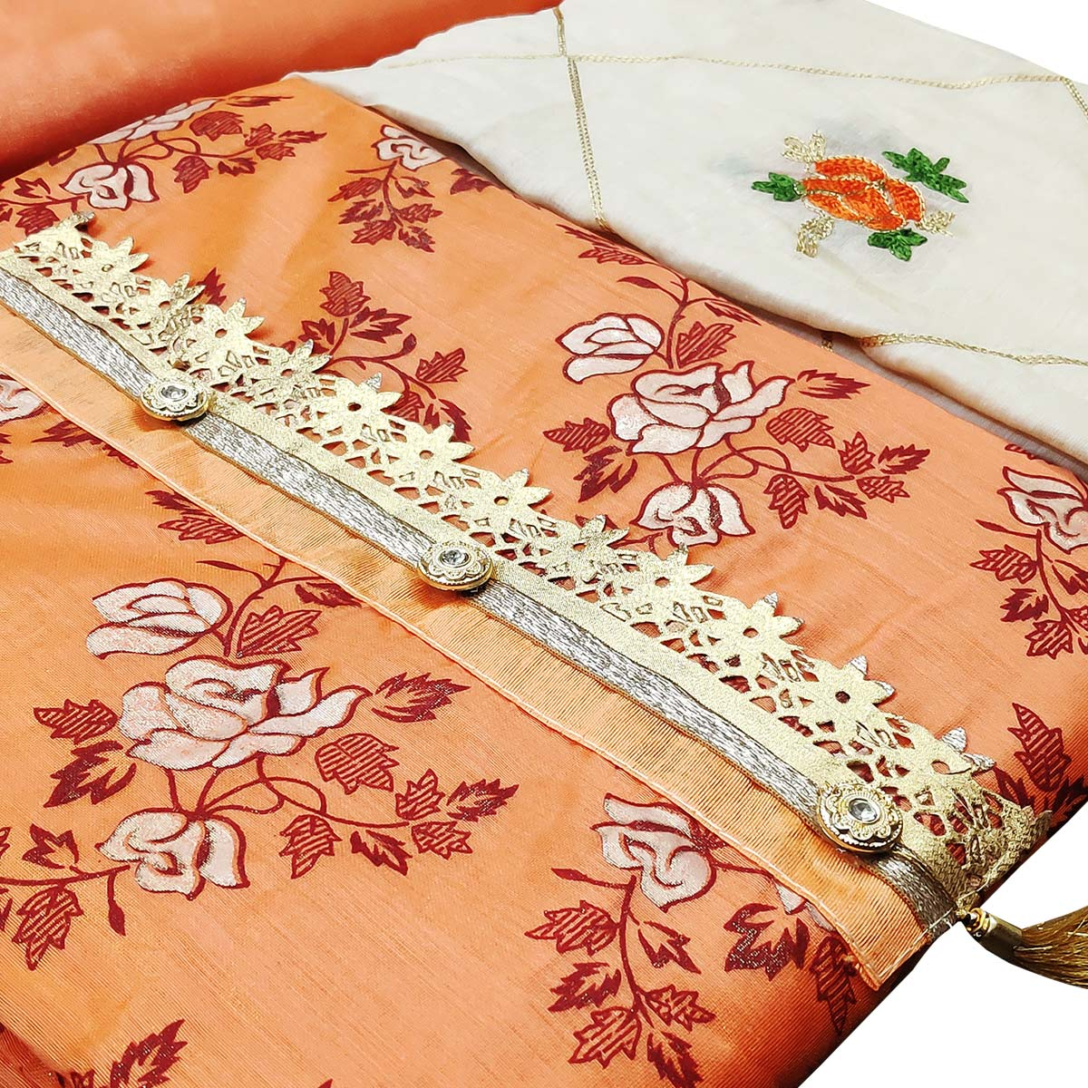 Prominent Orange Colored Partywear Printed Modal Silk Dress Material