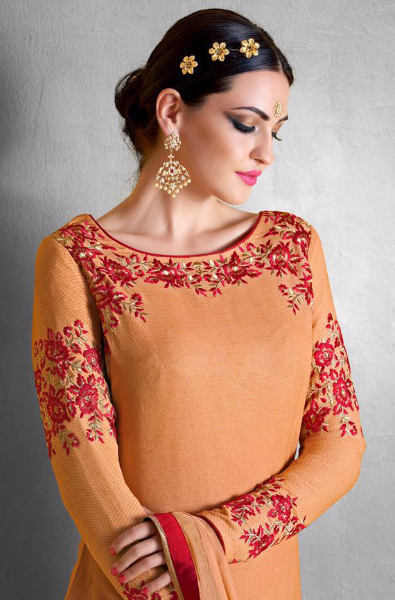 Orange Embroidered Work Palazzo Suit