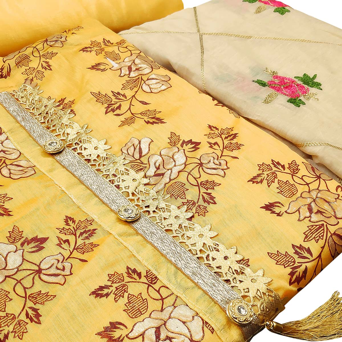 Glorious Yellow Colored Partywear Printed Modal Silk Dress Material