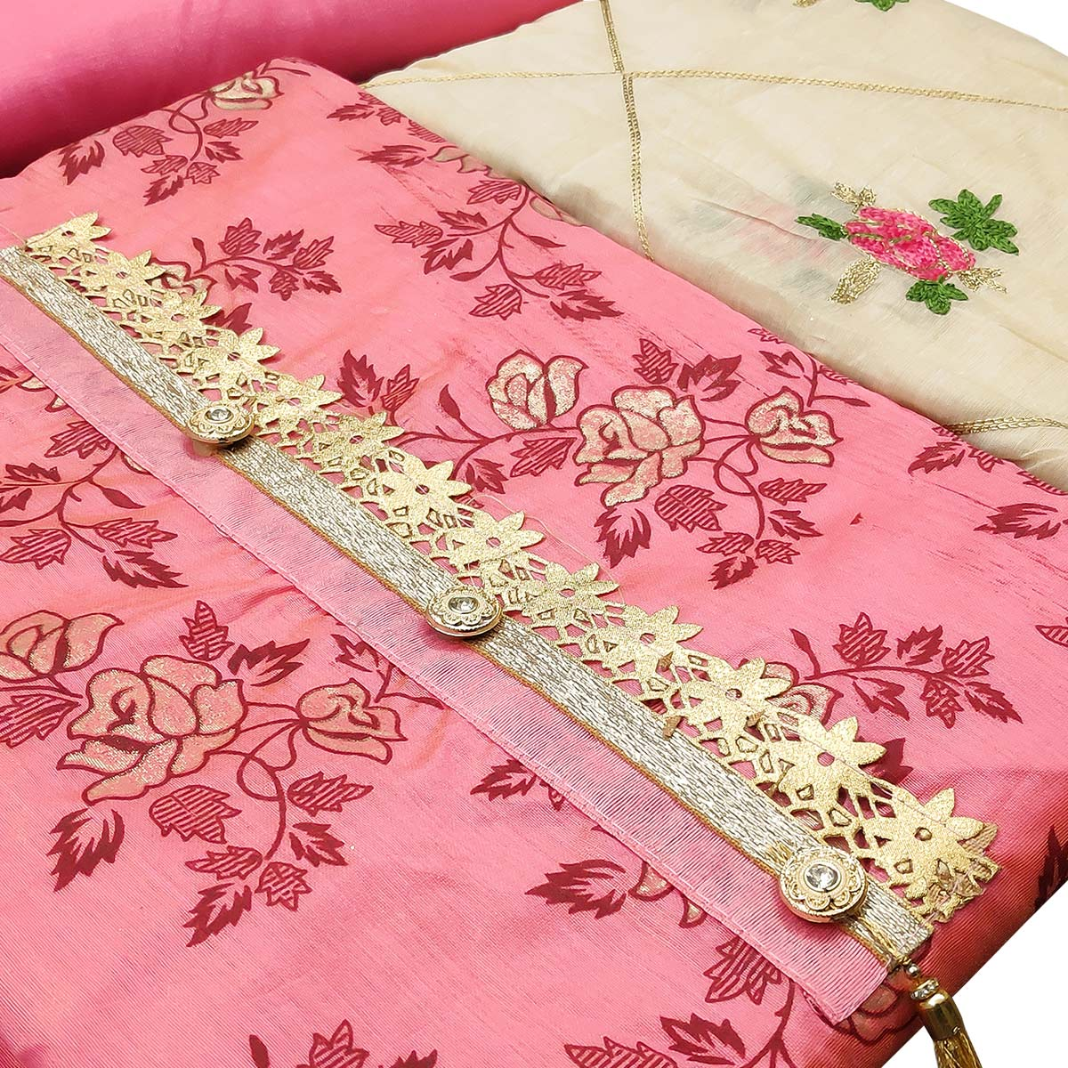 Attractive Pink Colored Partywear Printed Modal Silk Dress Material