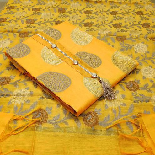 Majesty Yellow Colored Festive Wear Woven Heavy Banarasi Silk Dress Material