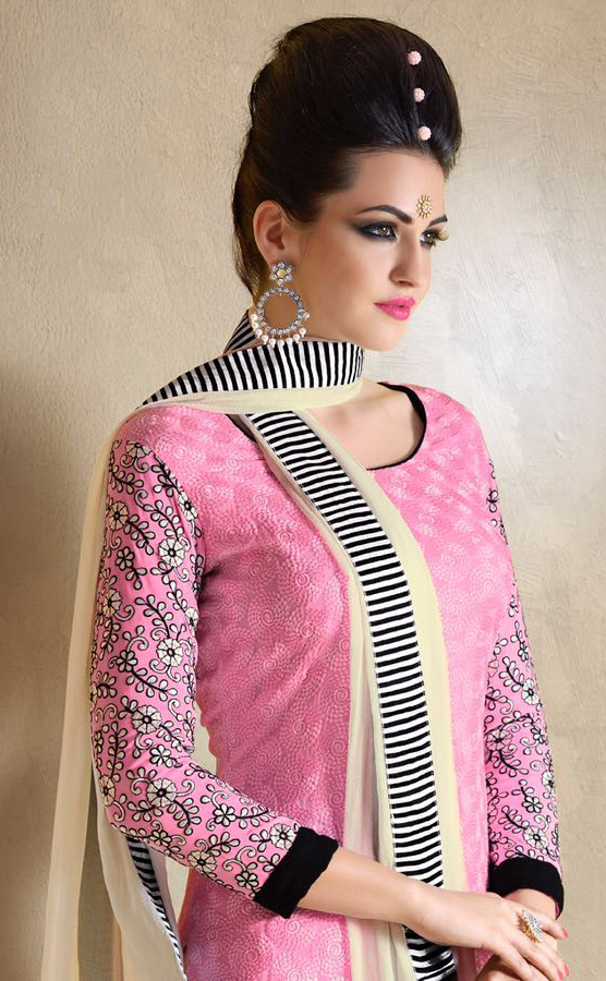 Pink Schiffli Work Straight Suit