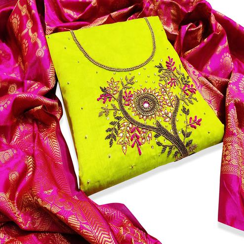 Intricate Lemon Green Colored Partywear Embroidered Chanderi Silk Dress Material