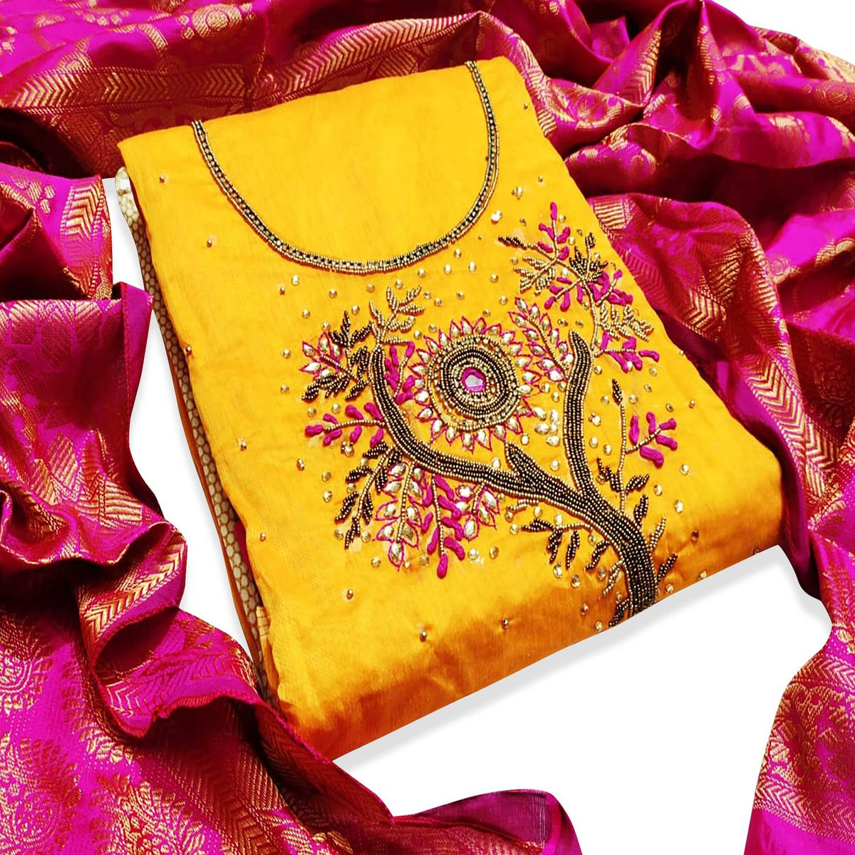Arresting Yellow Colored Partywear Embroidered Chanderi Silk Dress Material