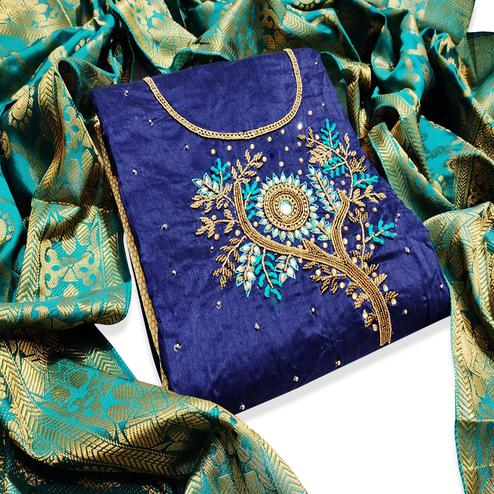 Sophisticated Navy Blue Colored Partywear Embroidered Chanderi Silk Dress Material