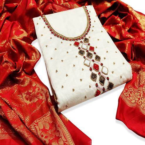 Elegant White Colored Partywear Embroidered Chanderi Silk Dress Material