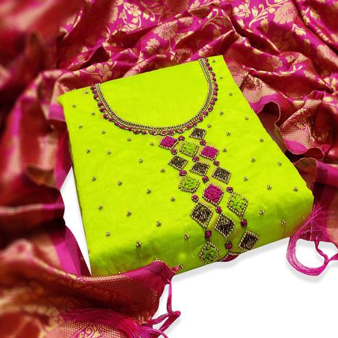 Radiant Lemon Green Colored Partywear Embroidered Chanderi Silk Dress Material