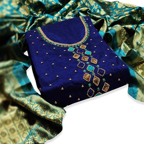 Pleasant Navy Blue Colored Partywear Embroidered Chanderi Silk Dress Material
