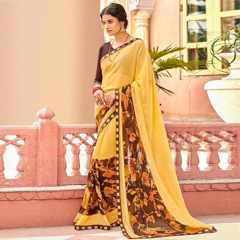 Trendy Yellow Colored Casual Wear Printed Georgette Saree