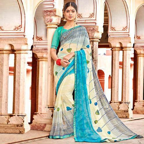 Elegant Off White Colored Casual Wear Printed Georgette Saree
